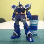 【ガンプラレビュー】HGUC 1/144 イフリート・シュナイド、素組み、紫色を青く塗り替え。タミヤのウェザリングマスター仕上げ。